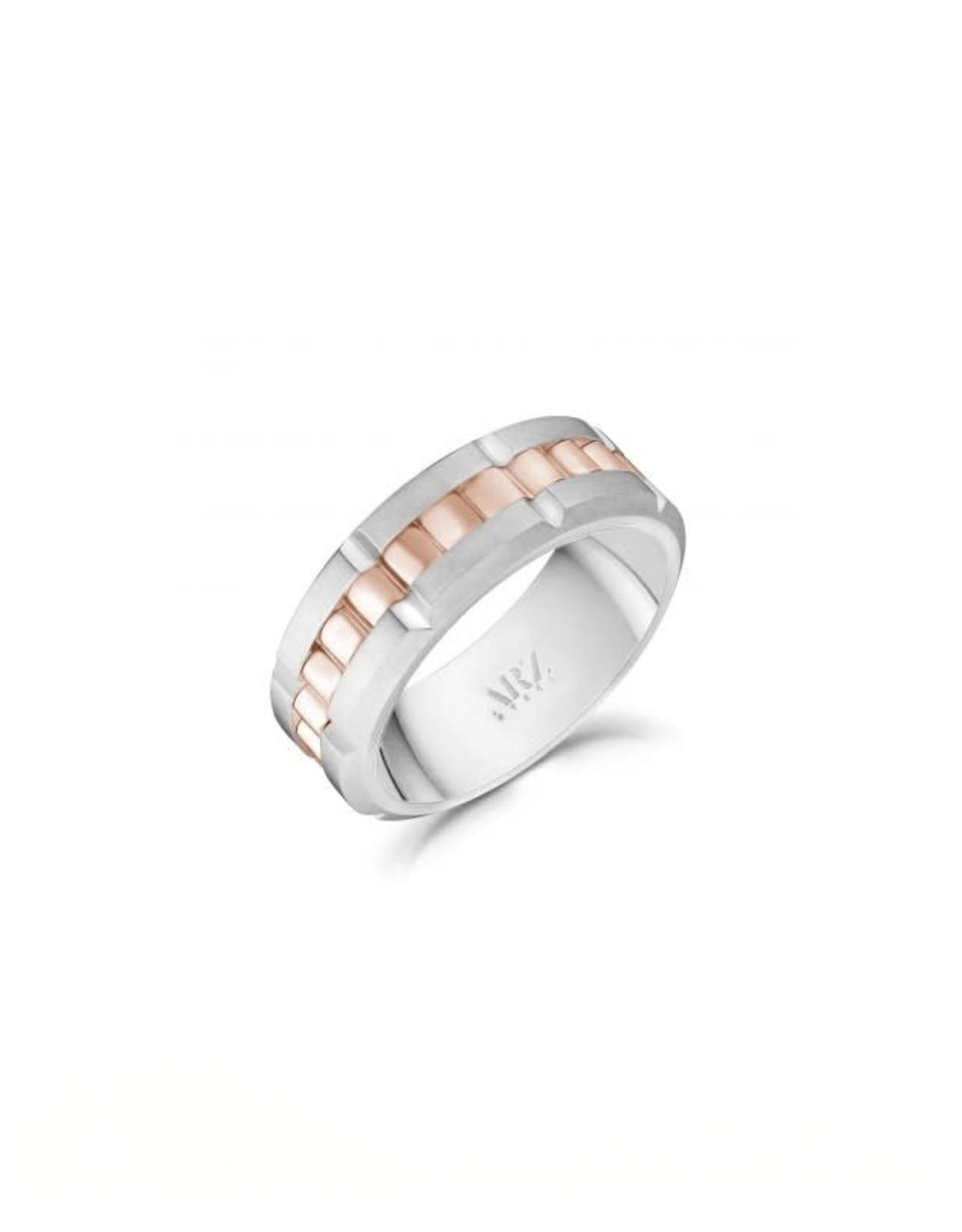 PARÉ Jonc Steel brossé et anneau spinner Rose Gold