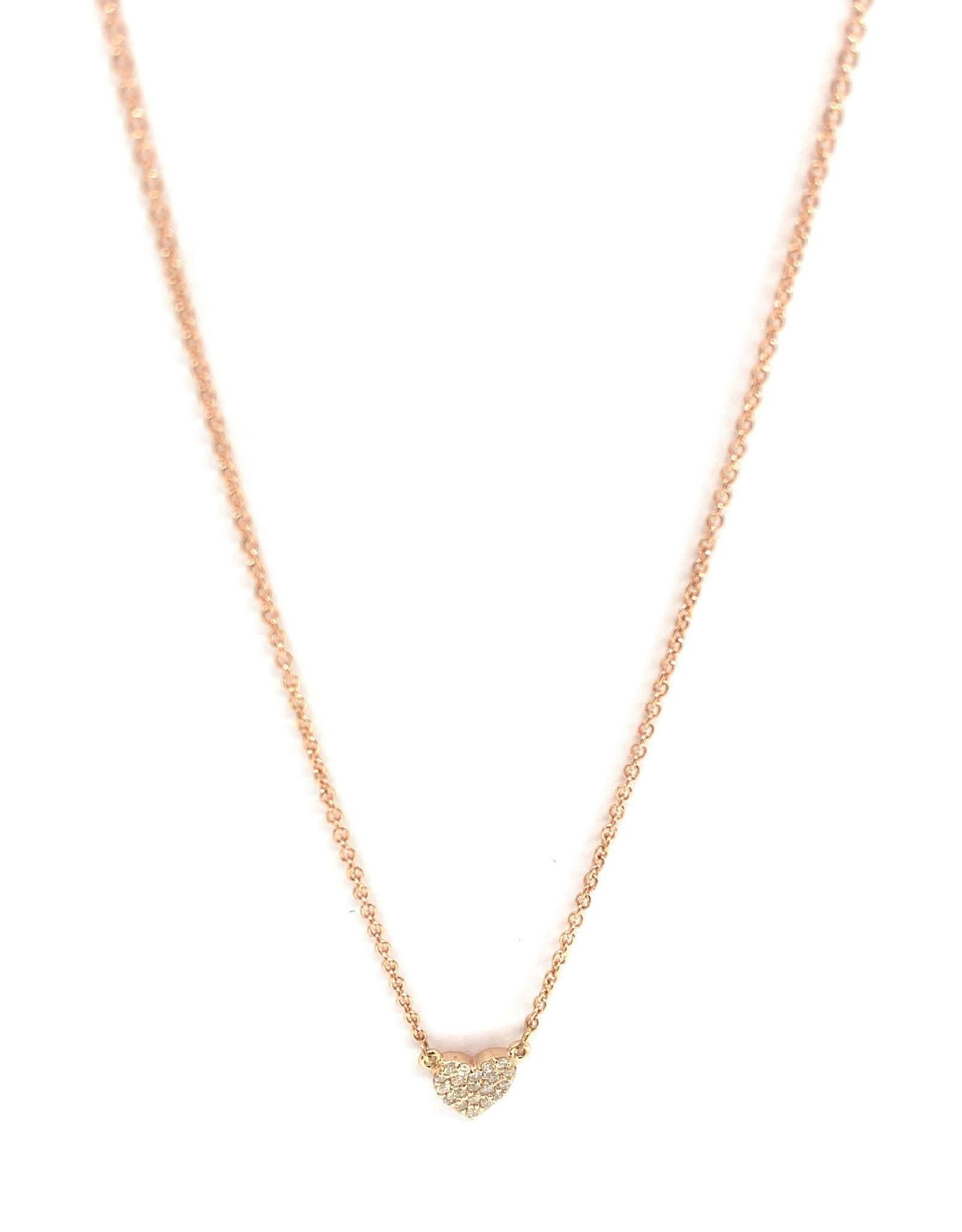 PARÉ Collier Or Rose 14k et Pendentif Mini-Coeur Avec Diamants  0.10ct