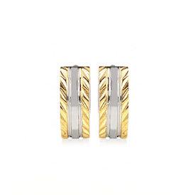 PARÉ Boucles d'oreilles Huggies 2 tons « Diamond cut »