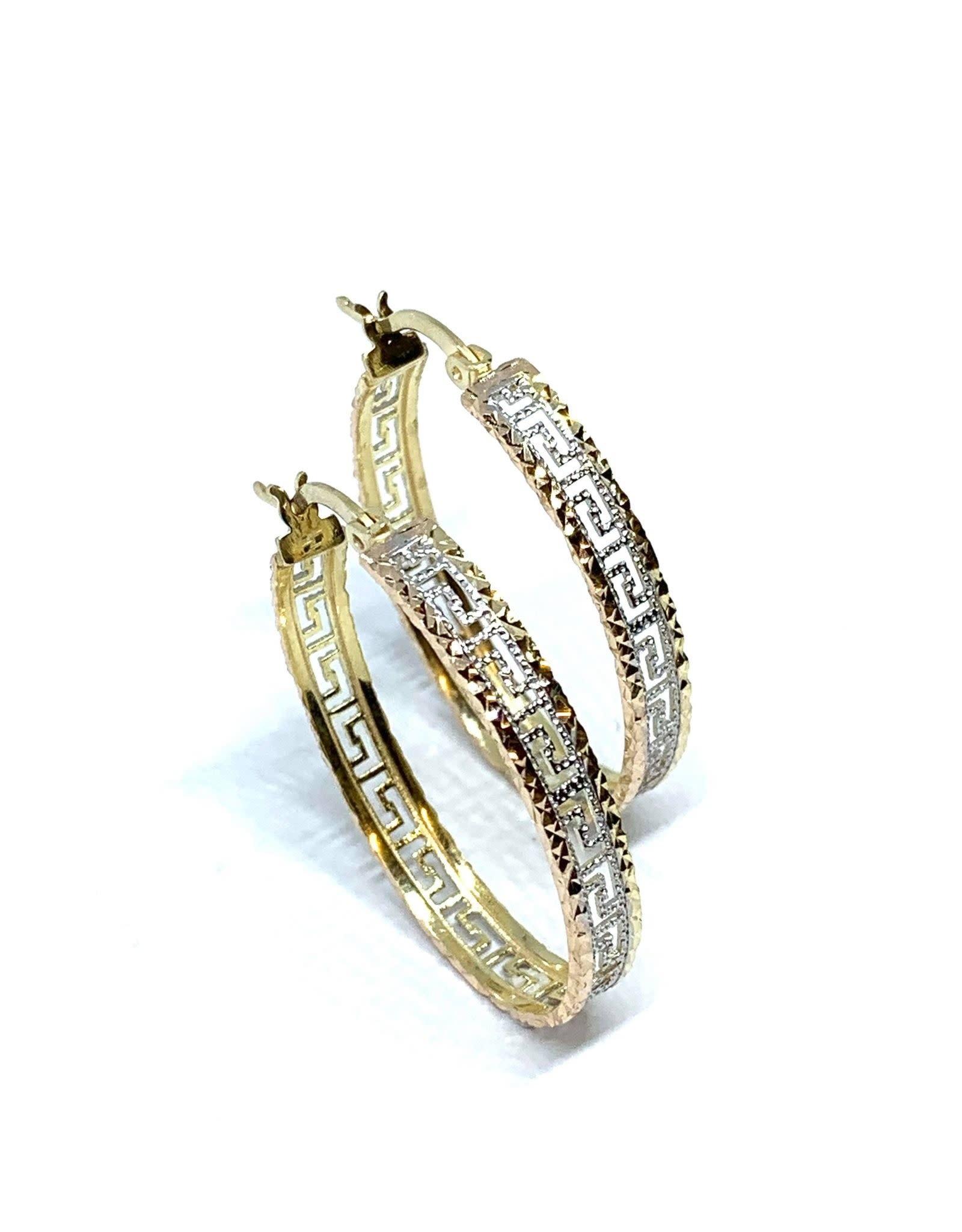 PARÉ  Boucles d'oreille anneaux ovales Versace Or 3 tons 10k