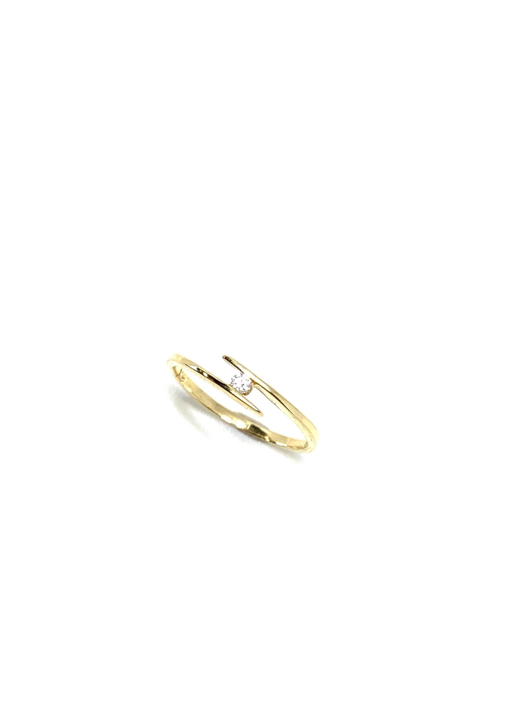 PARÉ Bague Semi-croisée Solitaire Or jaune 14K avec Diamant