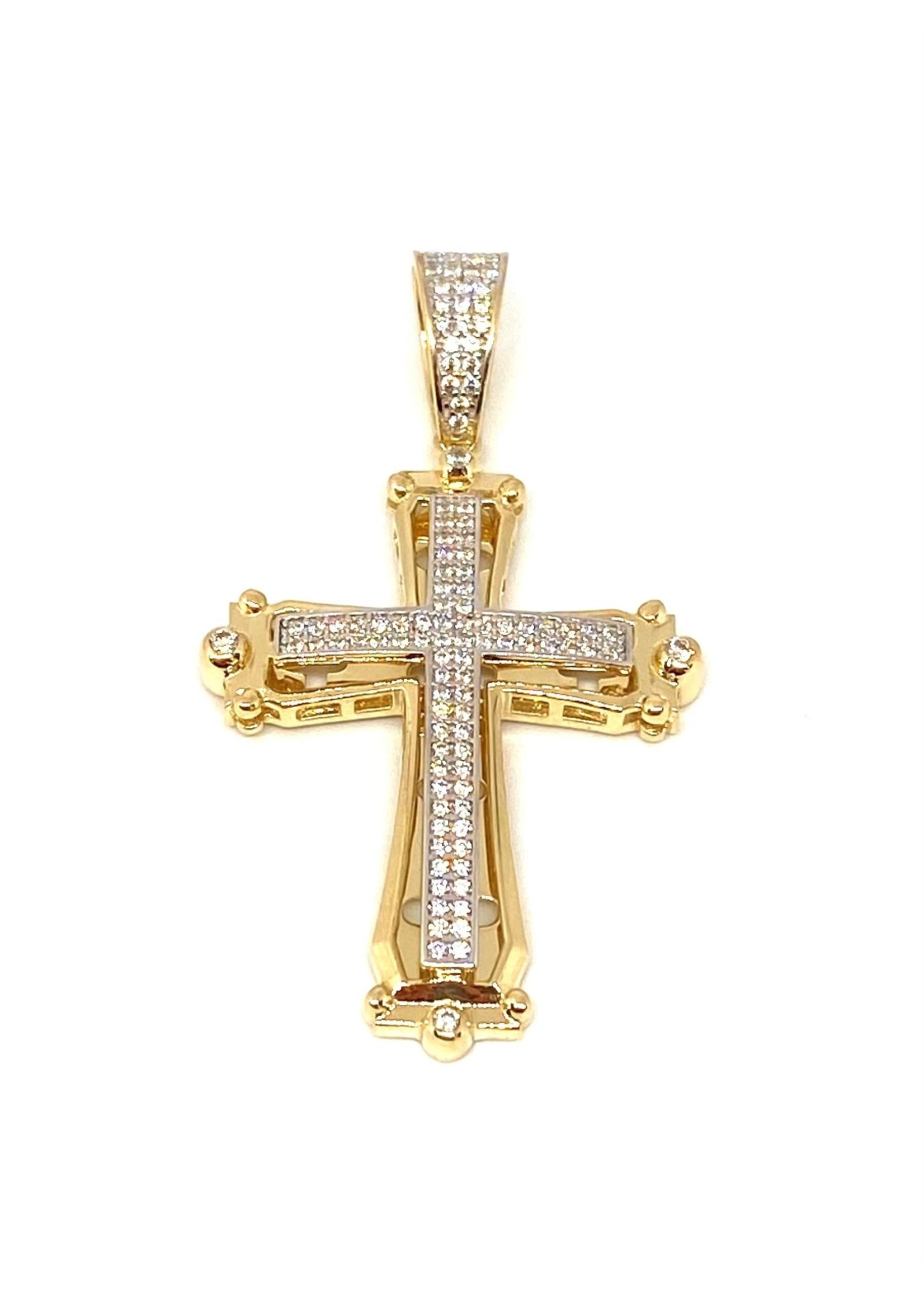 PARÉ Pendentif Croix Double Or 10K