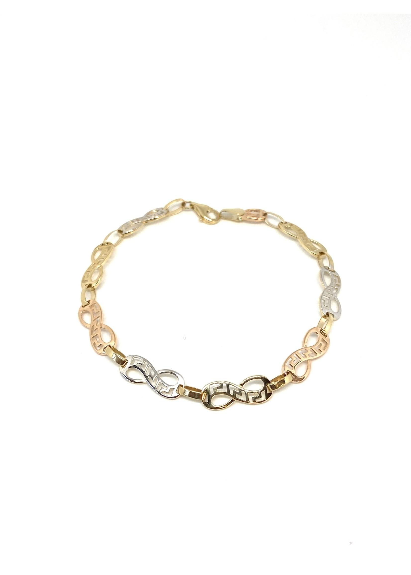Bracelet Infini Versace Or 10K 3 tons