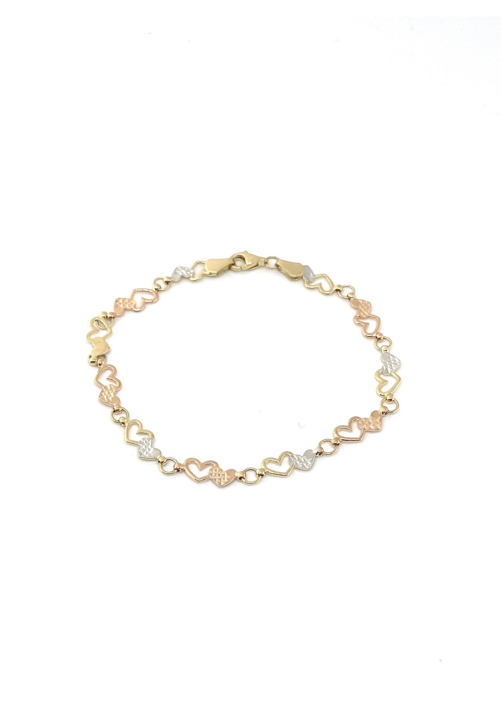 PARÉ Bracelet Petits cœurs et cercles Or 10K 3 tons