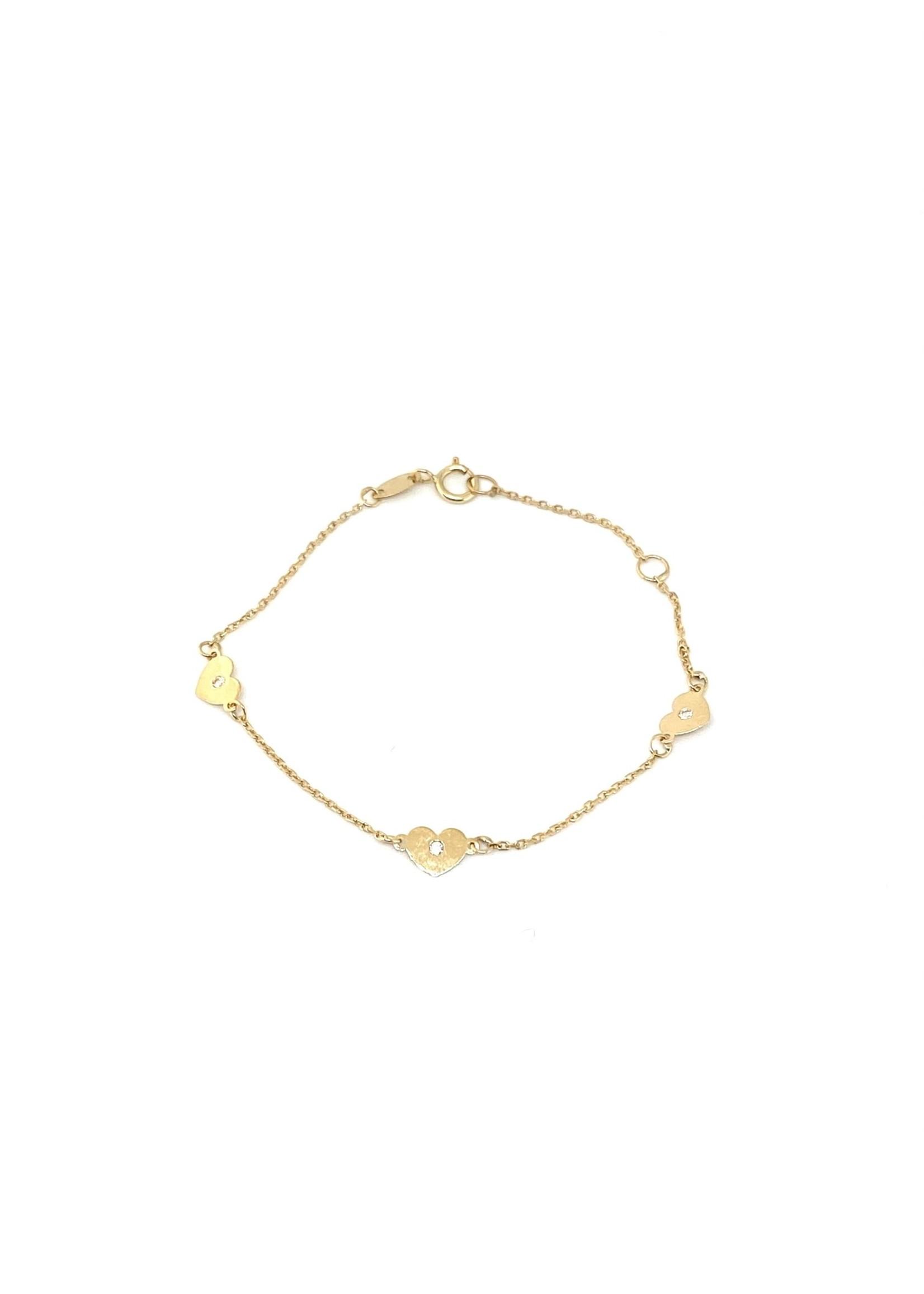PARÉ Bracelet Mini Forçat et Cœur pour Enfant Or 10K