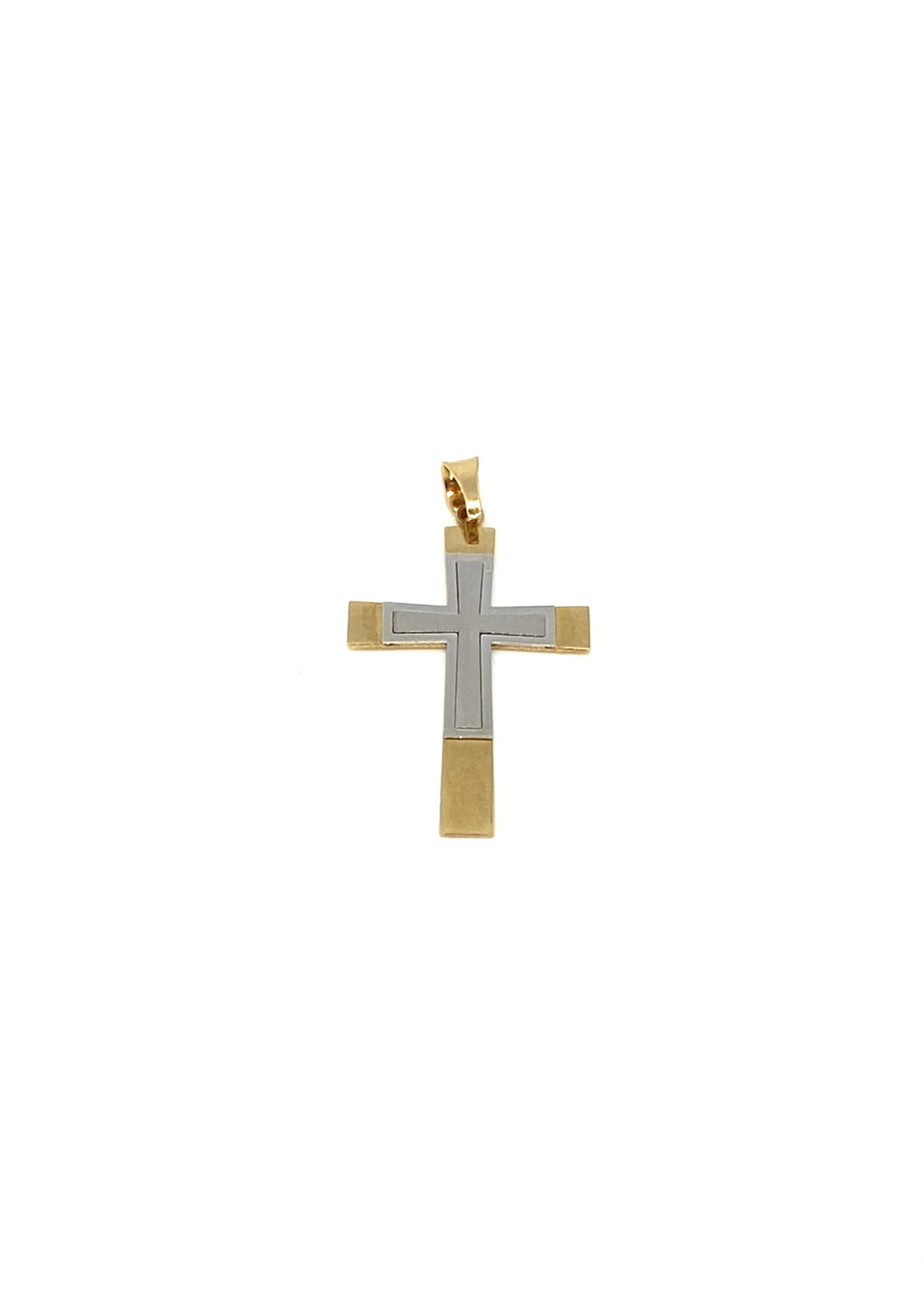 PARÉ Pendentif Croix superposées Or 10K 2 tons