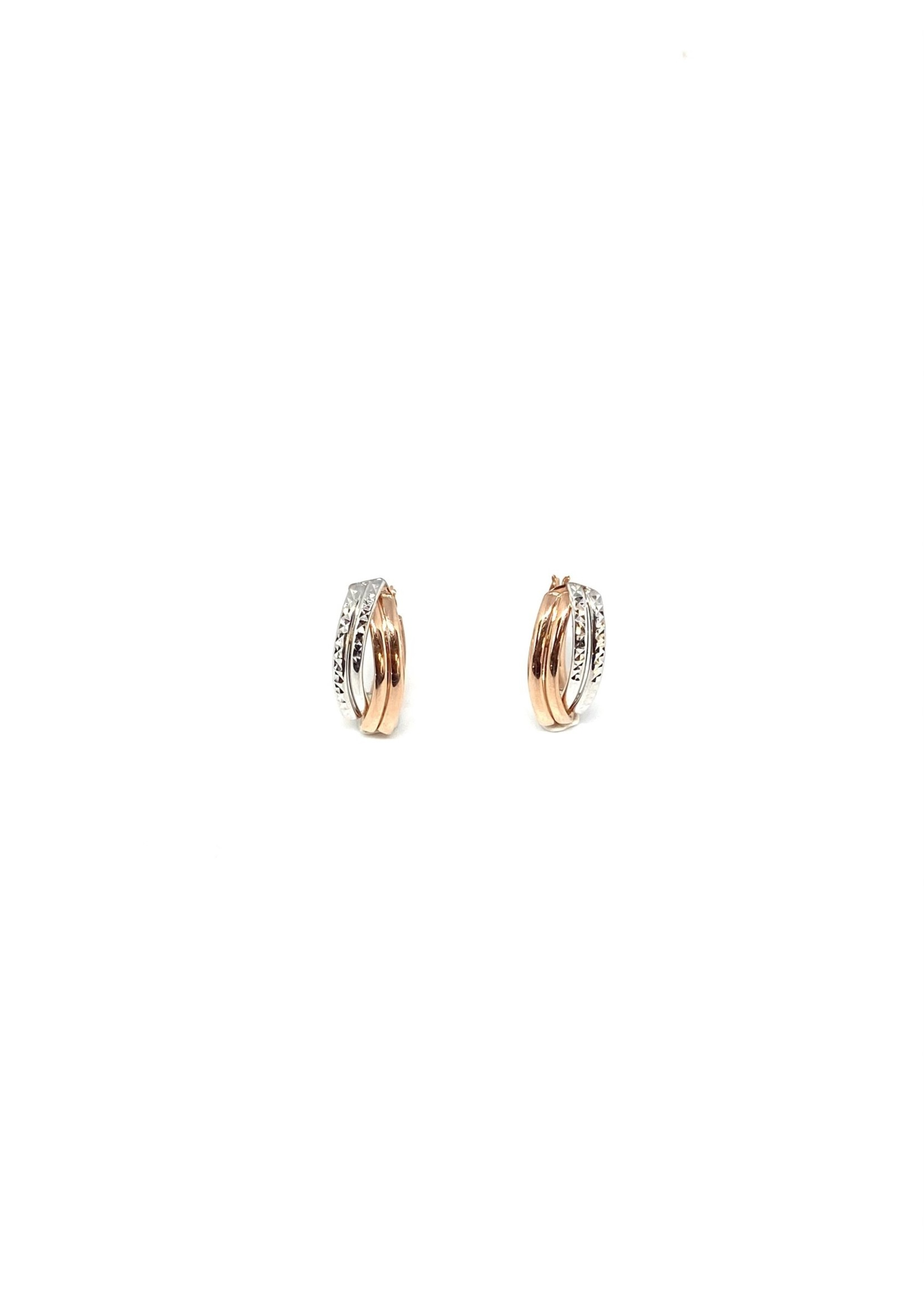 PARÉ Boucles d'oreilles Anneaux croisés « Diamond cut » Or 10K 2 tons
