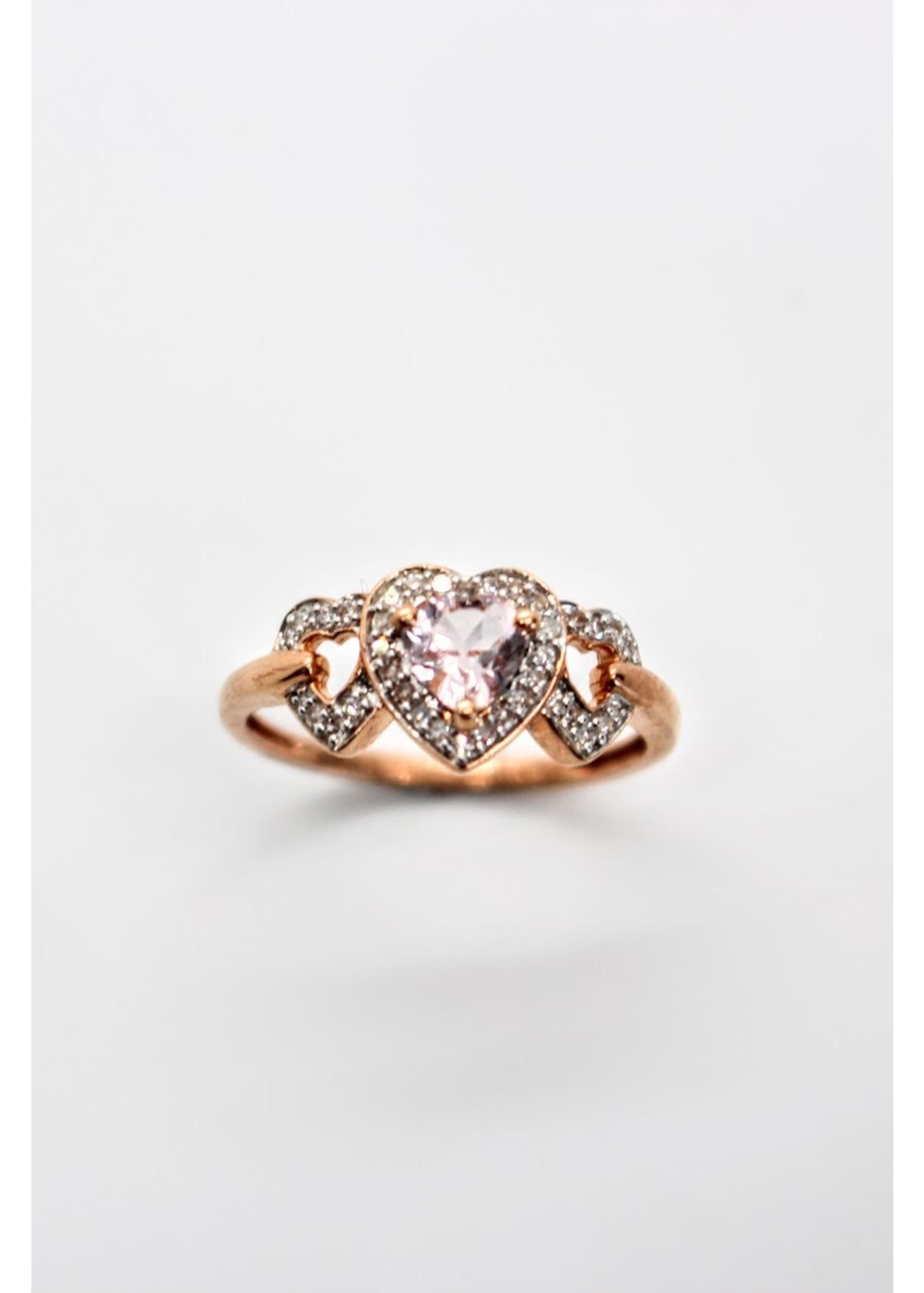 Bague 3 cœurs Or rose 10K avec morganite et diamants