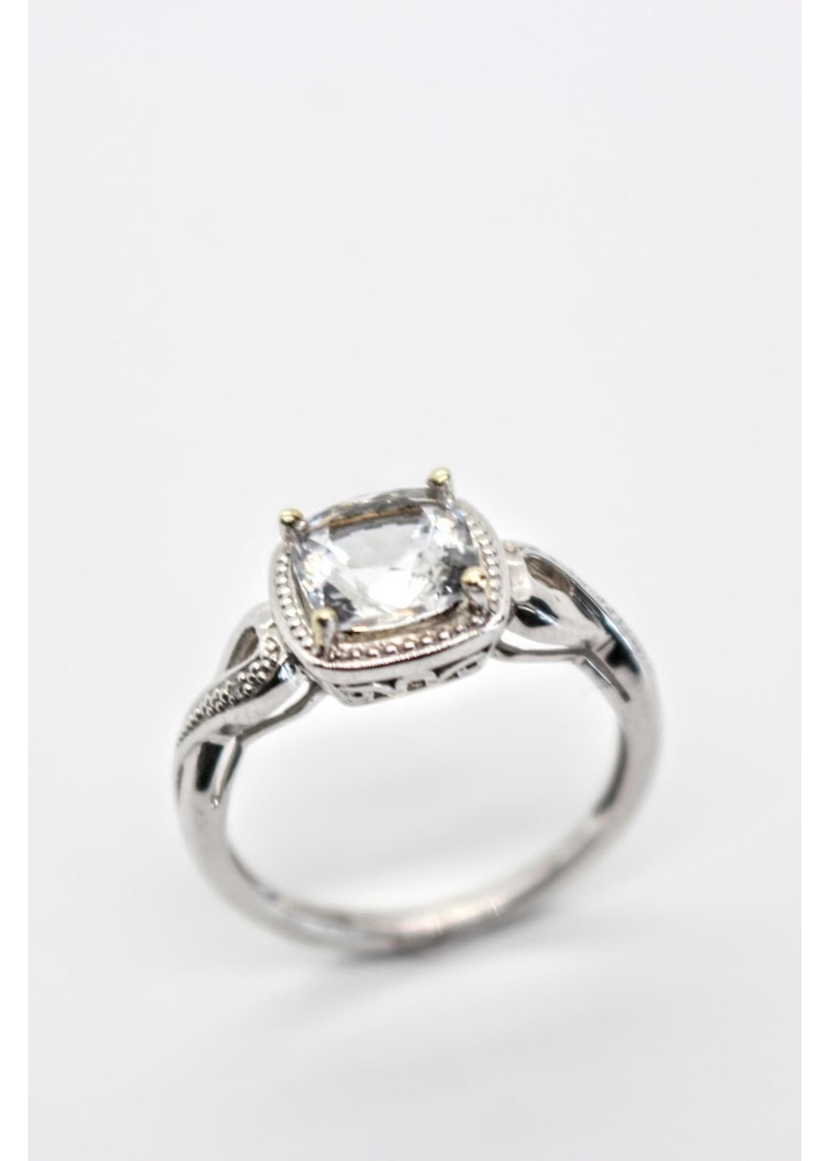 PARÉ Bague Or blanc 10K avec Diamants et Topaz