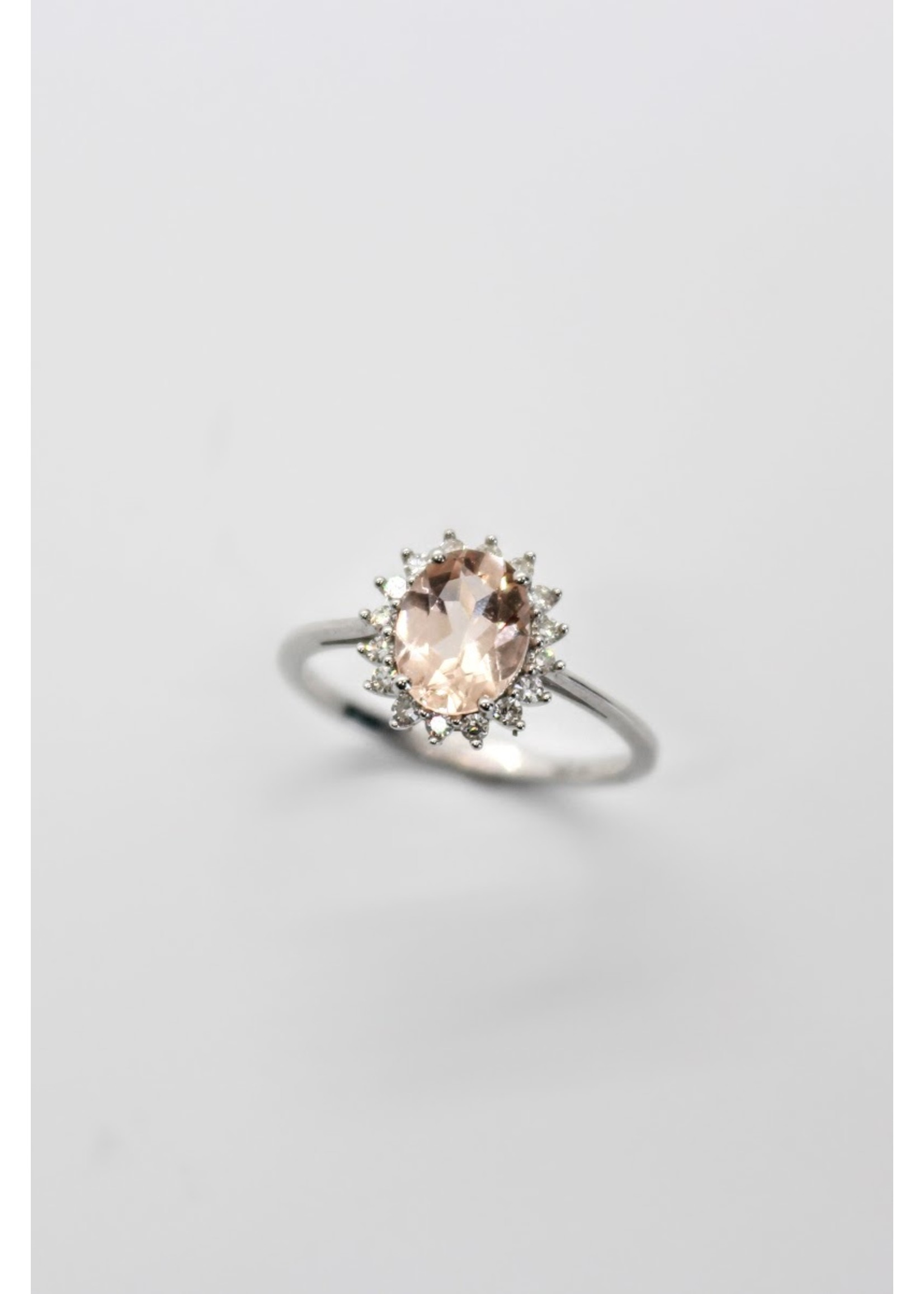 PARÉ Bague Solitaire Diana Or blanc 10K avec Morganite et Diamants