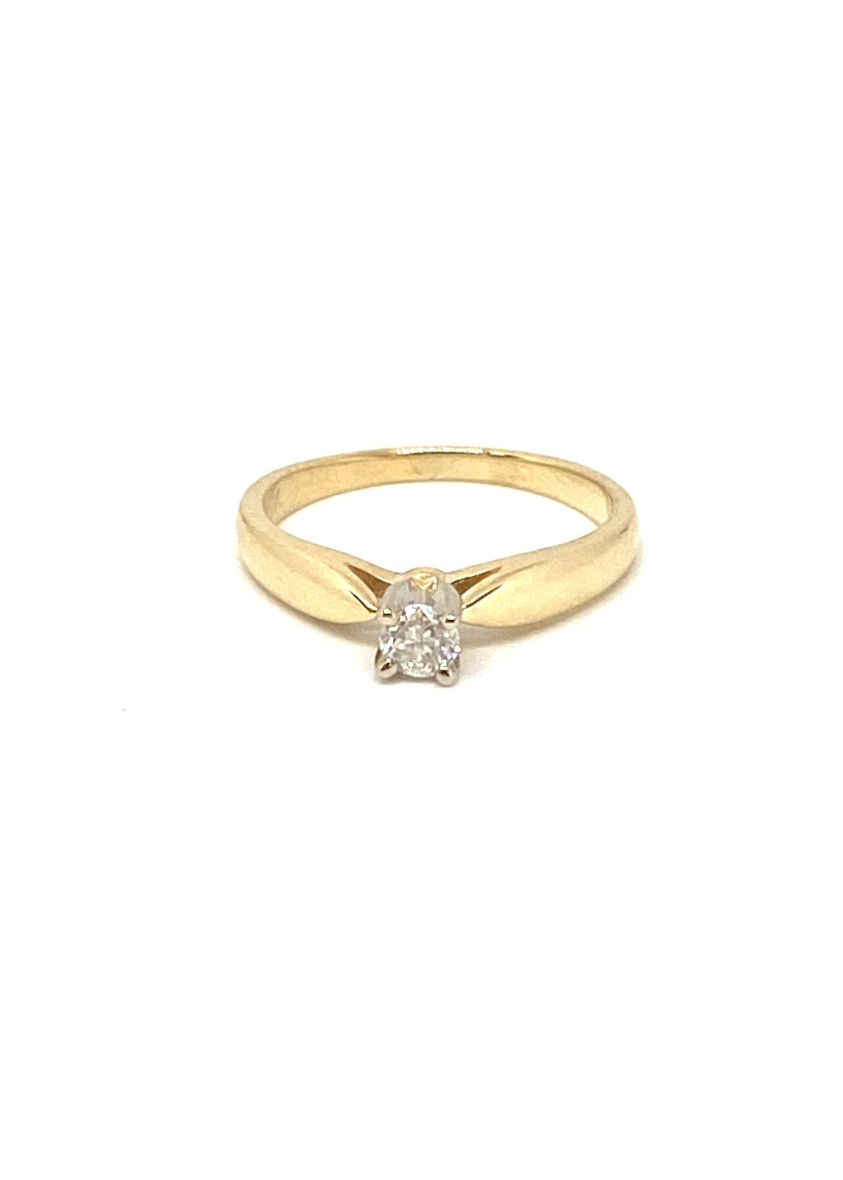 PARÉ Bague solitaire Or 10K 2 tons avec Diamants