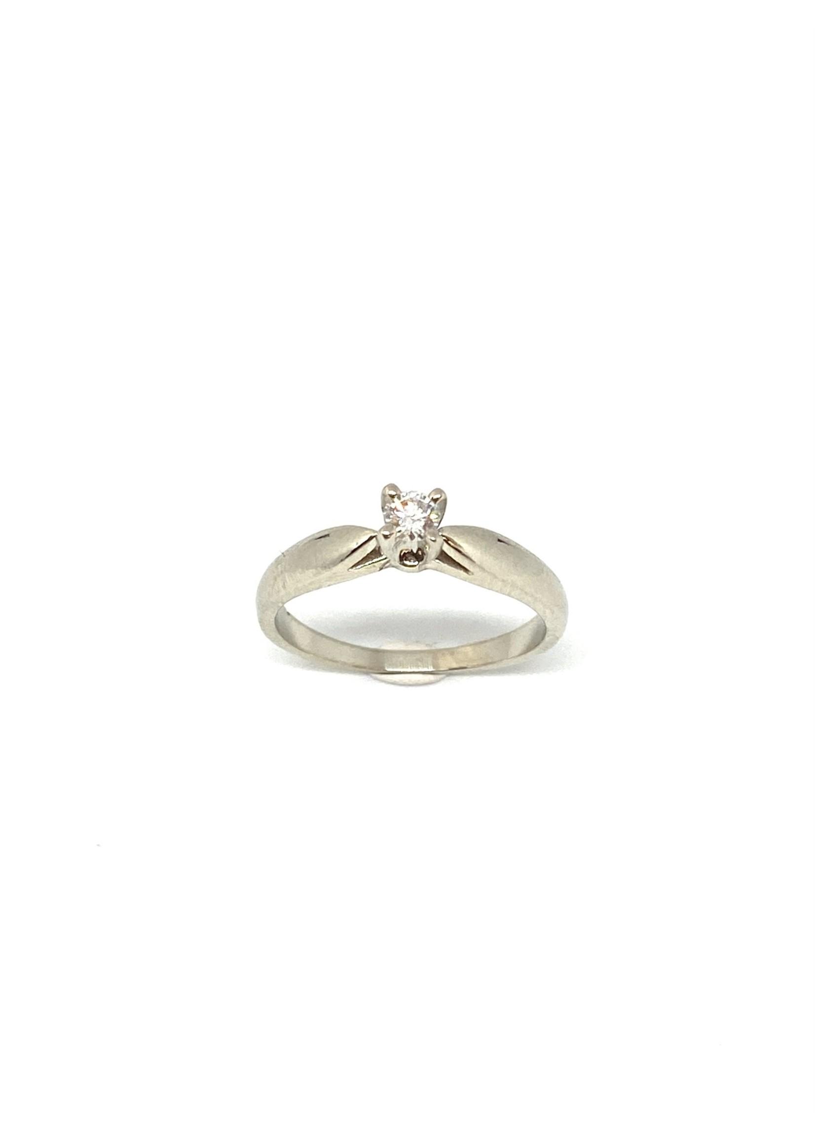 PARÉ Bague solitaire Or blanc 10K avec Diamant