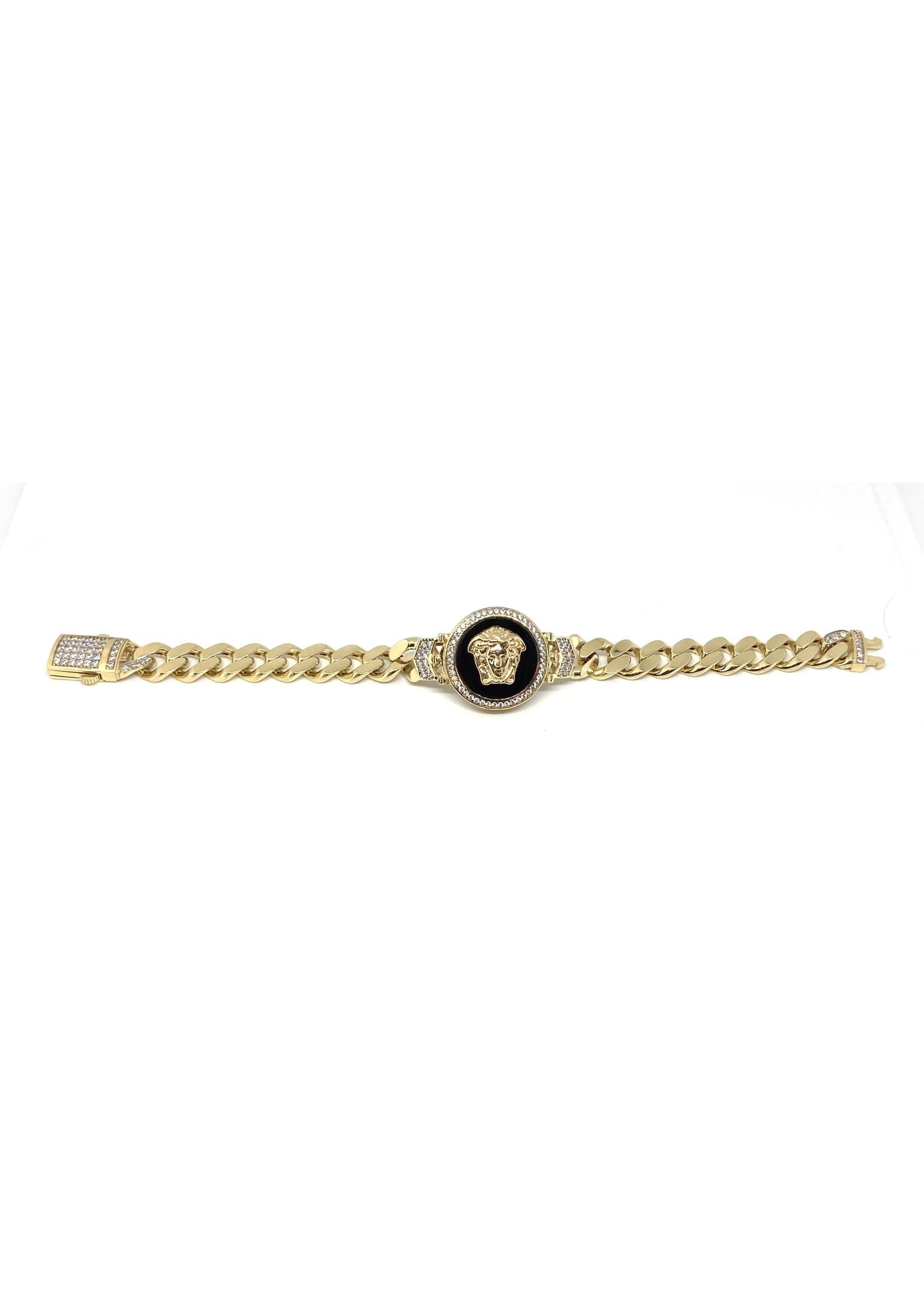 PARÉ Bracelet gourmette Tête Versace et Onex Or 10K