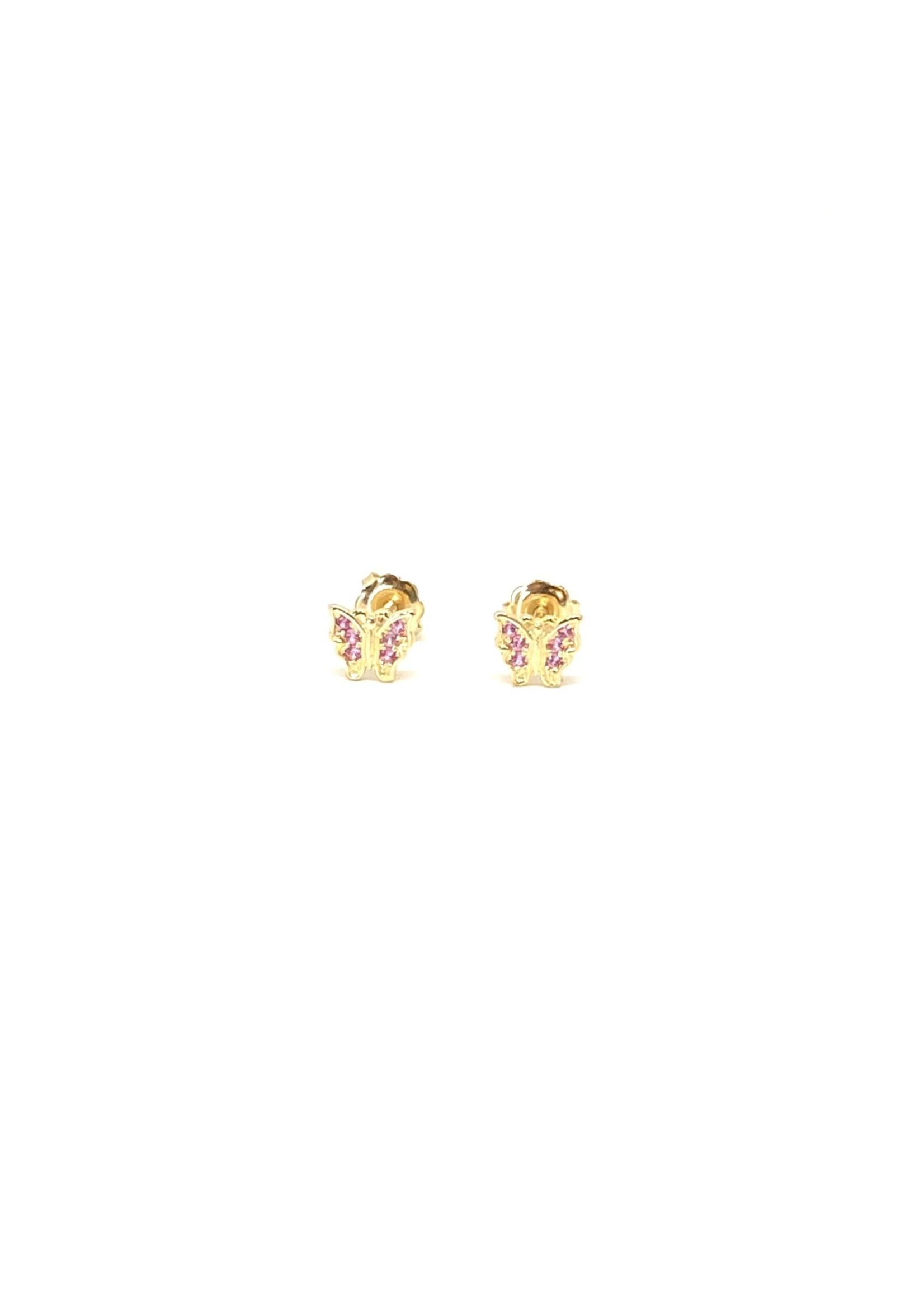 PARÉ Boucles d'oreilles Stud Papillons mauves Or 10K