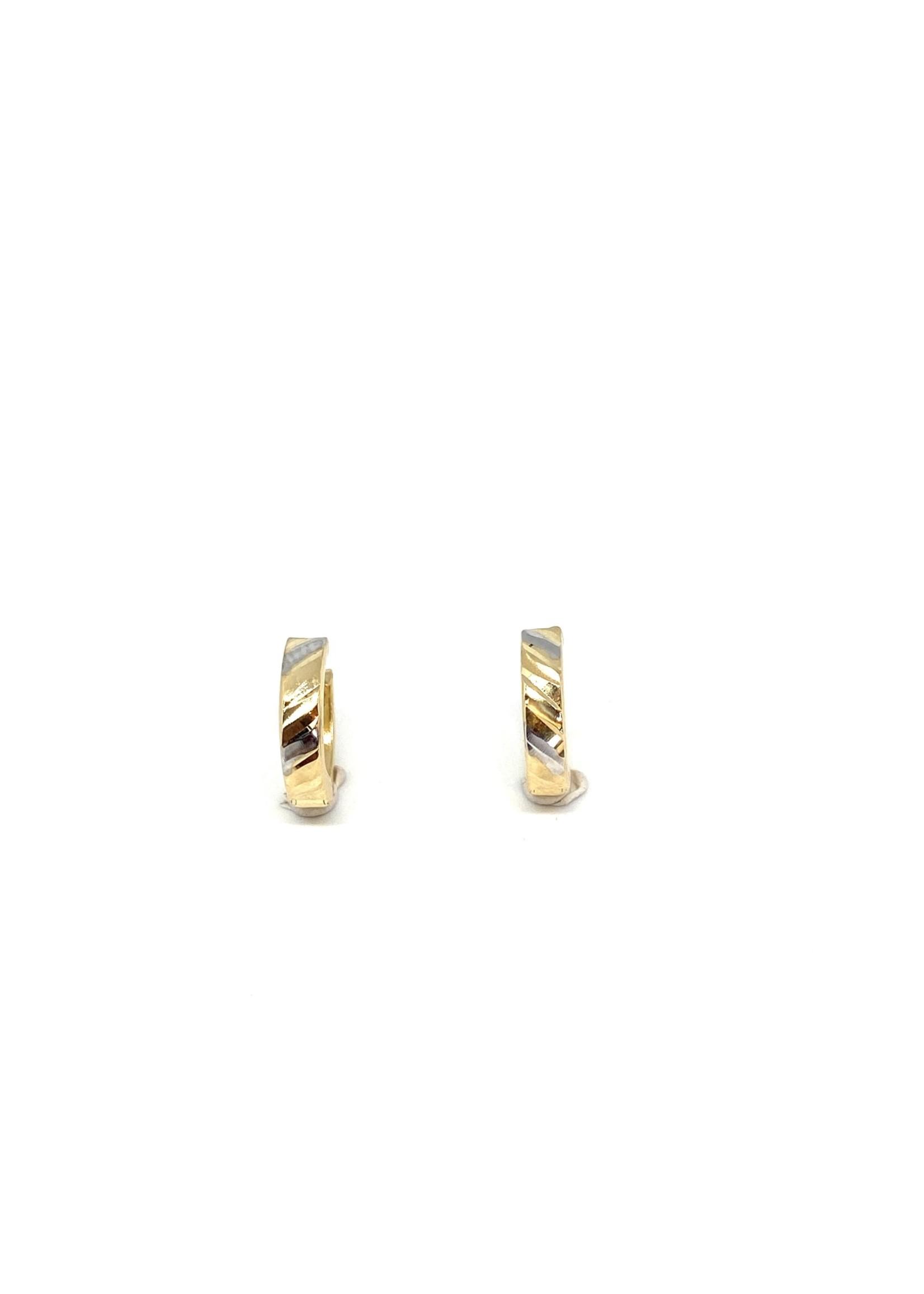 PARÉ Boucles d'oreilles Huggies « Diamond Cut » Or 10K 2 tons