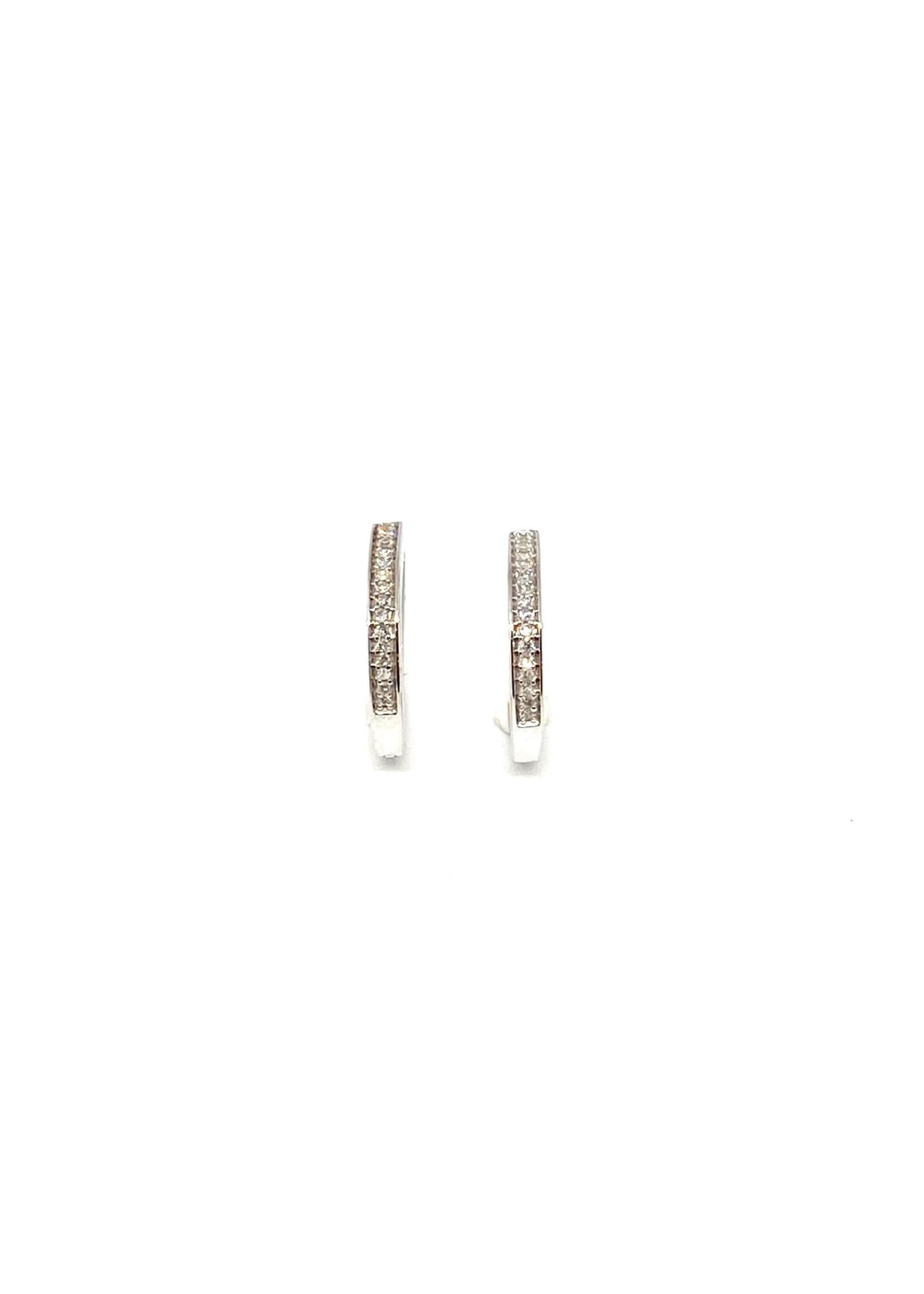 PARÉ Boucles d'oreilles Anneaux avec Diamants Or blanc 10K