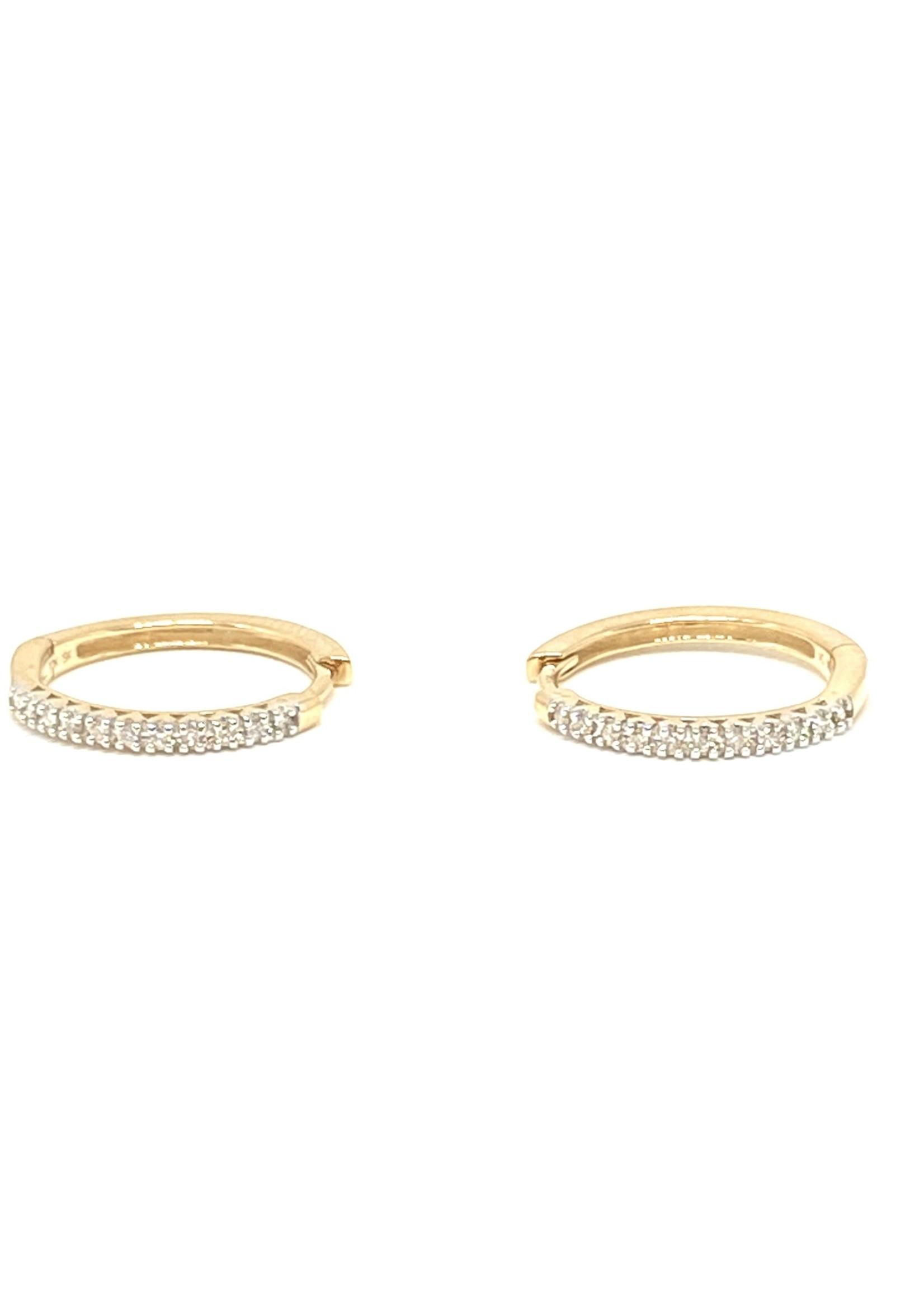PARÉ Boucles d'oreilles Anneaux avec Diamants Or 10K