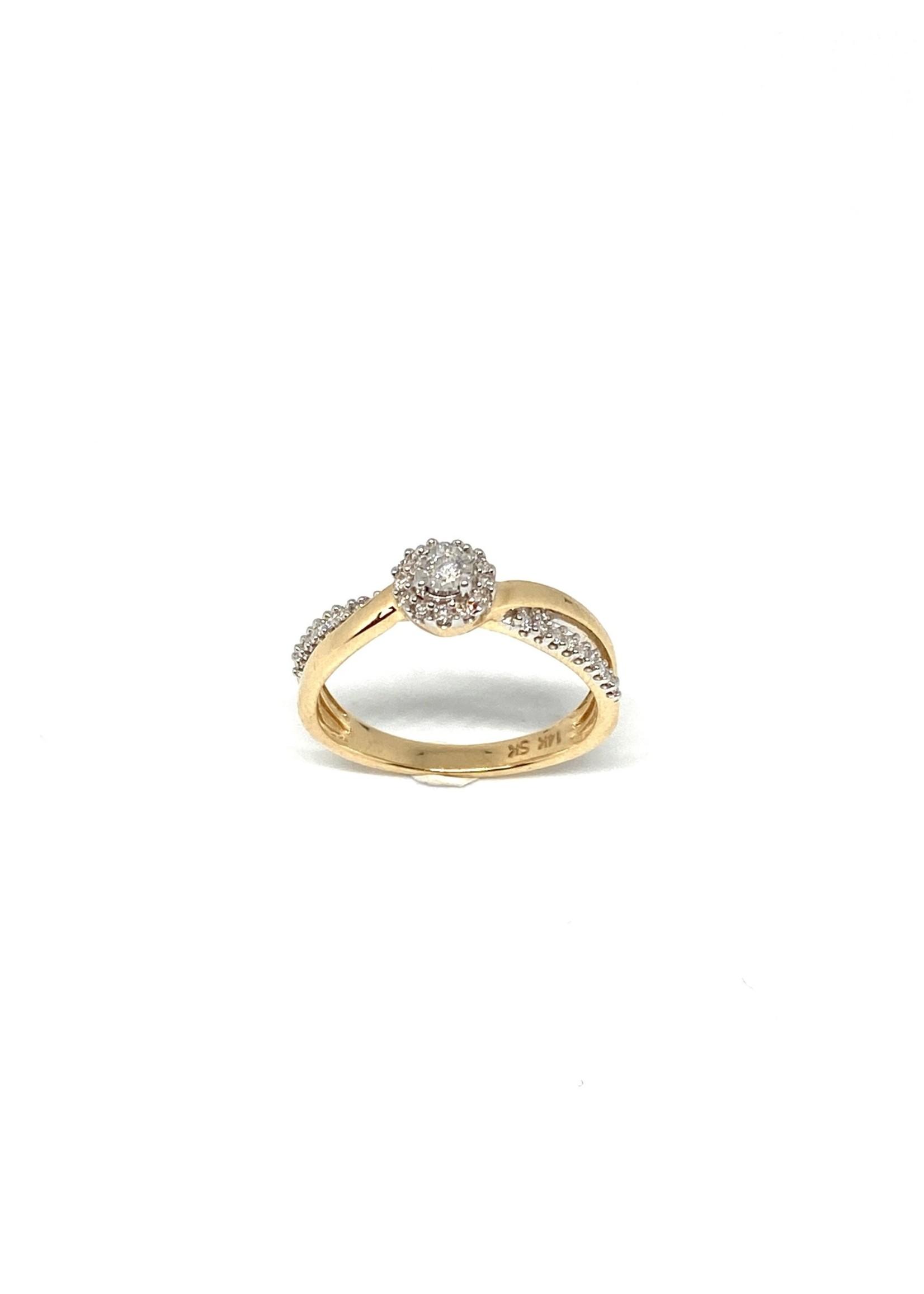 PARÉ Bague de fiançailles Solitaire torsadé Or 14k avec Diamants