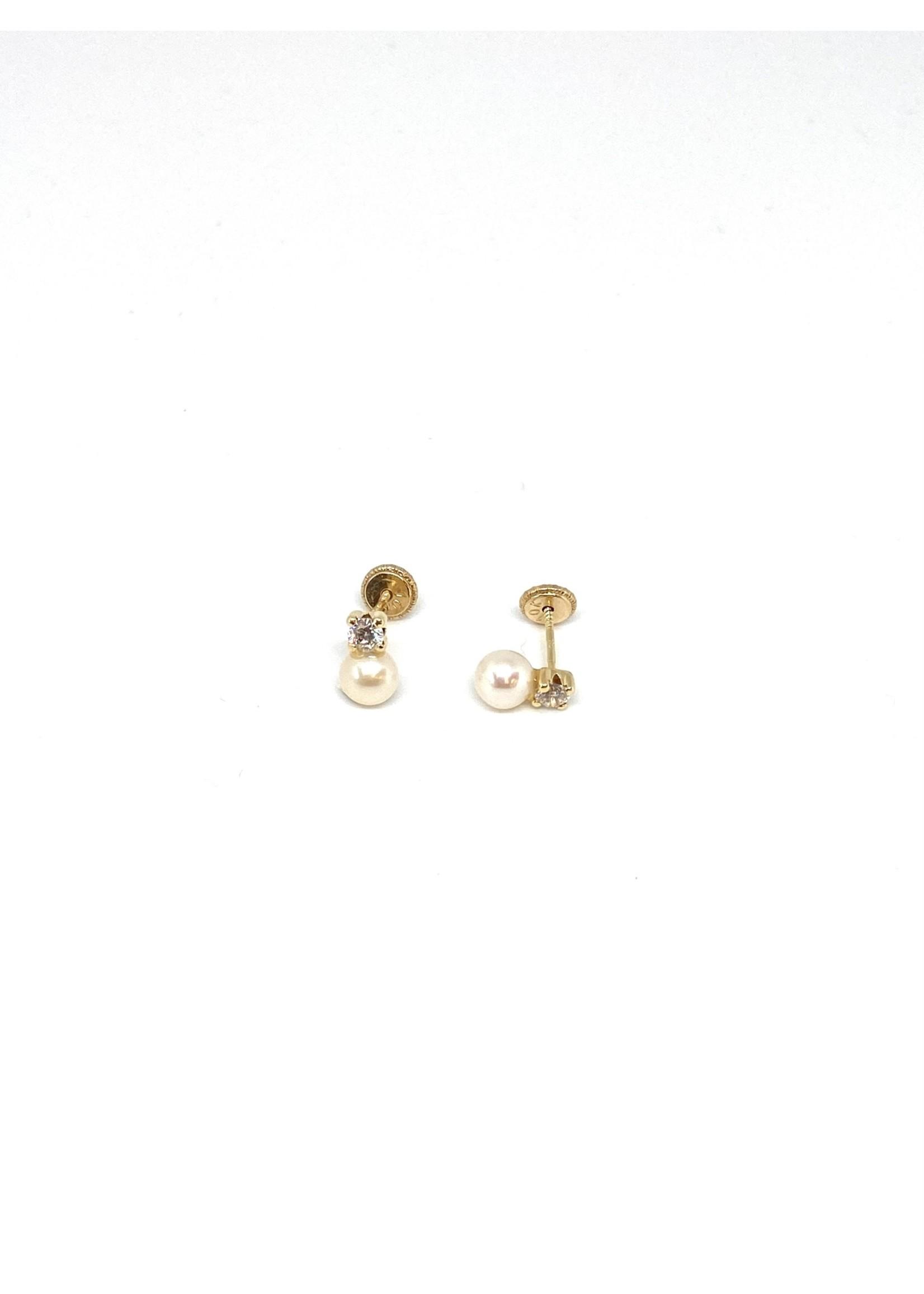 PARÉ Boucles d'oreilles Stud Perles pour Enfants Or 10K