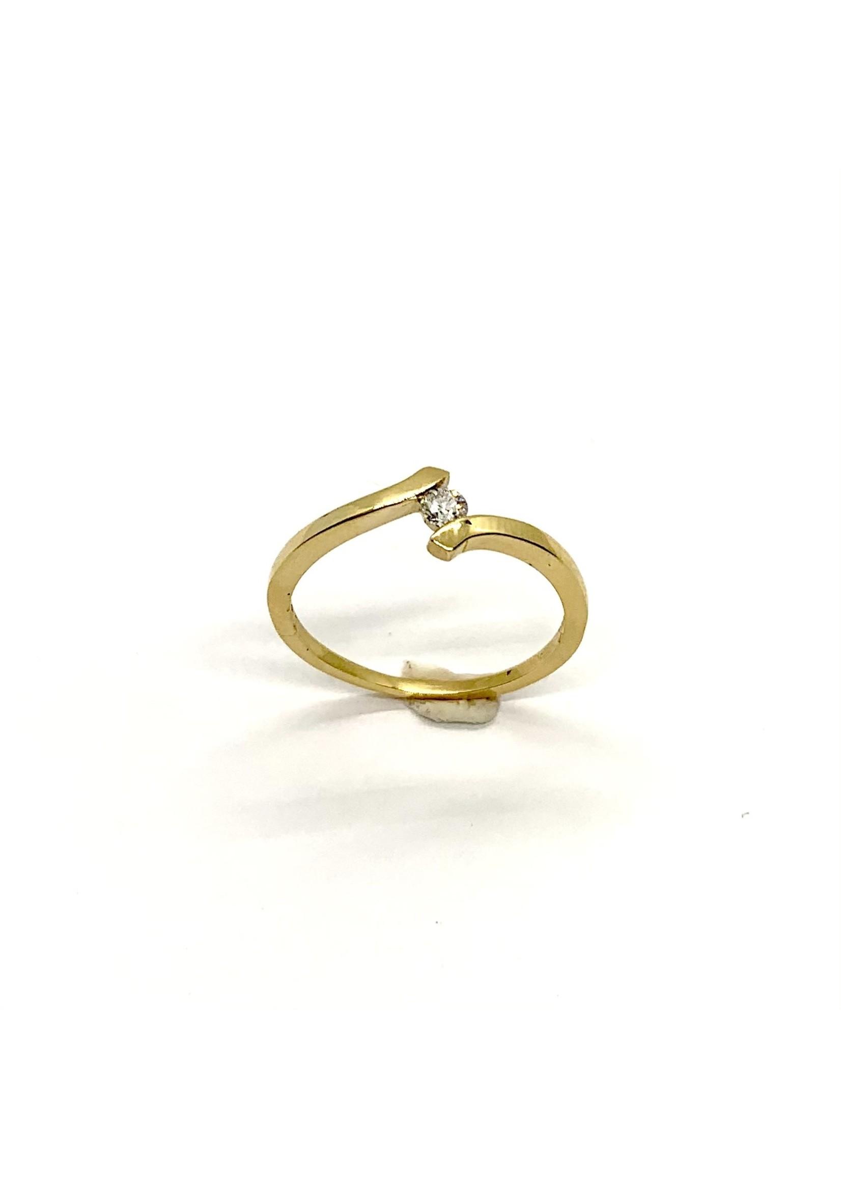 PARÉ Bague Solitaire Croisée Or jaune 14K avec Diamants