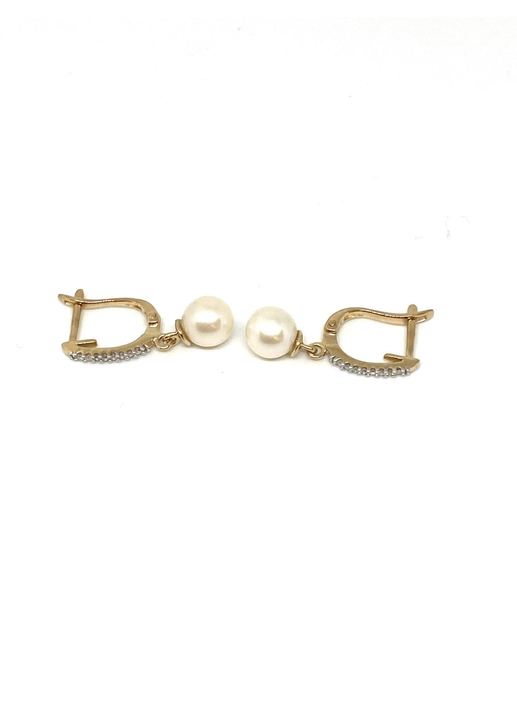 PARÉ Boucles d'oreilles Perles avec Diamants Or 10K
