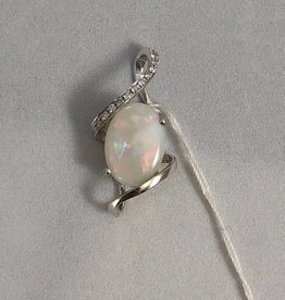 Opal and Diamond Pendant; 14KT White Gold