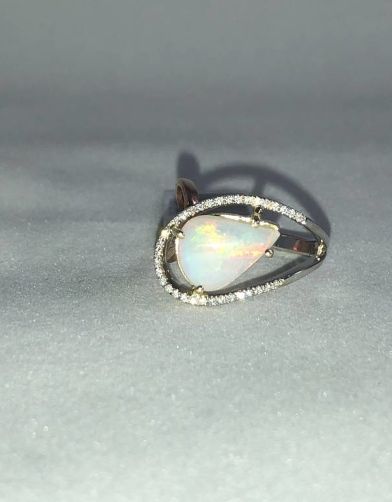 Opal and Diamond Ring; 14KT White Gold