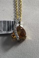 Citrine and Diamond Pendant; 14KT White Gold