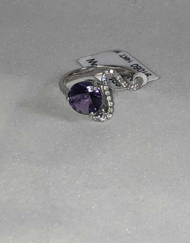 Amethyst and Diamond Ring; 14KT White Gold