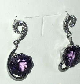 Amethyst and Diamond Earrings; 14KT White Gold