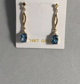 Blue Topaz and Diamond Earrings; 14KT Yellow Gold