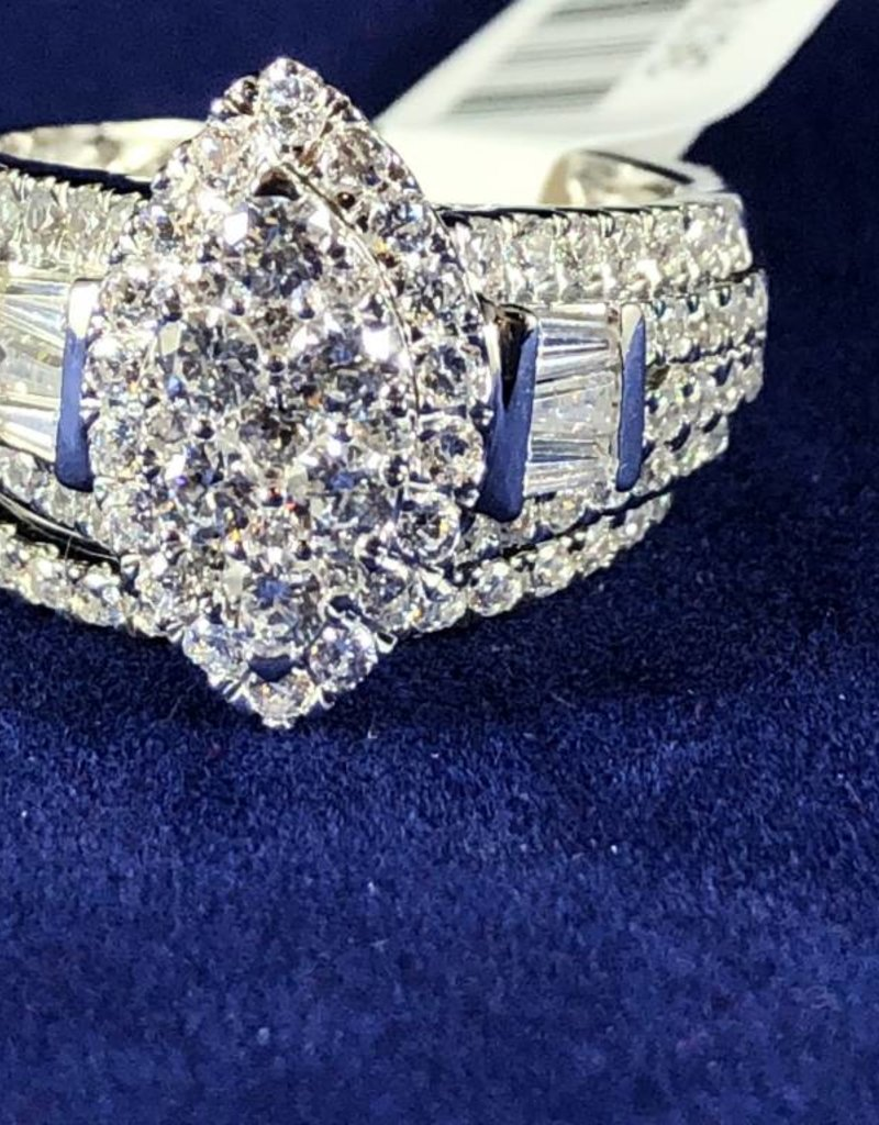 Diamond Wedding Set 1.91 ctw Marquise Style with Round and Baguette cut, Halo Style 14KT White Gold