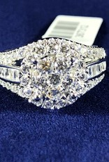 Diamond Engagement Ring 2.00 ctw Round Cut, Halo Style, Baguettes 14KT White Gold