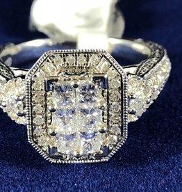 Princess Cut 1.07 ctw Cluster Diamond Engagement Ring; 14KT White Gold