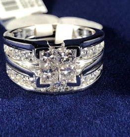 Princess Cut with Round cut 2.00 ctw Diamonds Wedding Set; 14KT White Gold