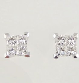 Princess Cut 1 ctw Diamond Stud Earrings