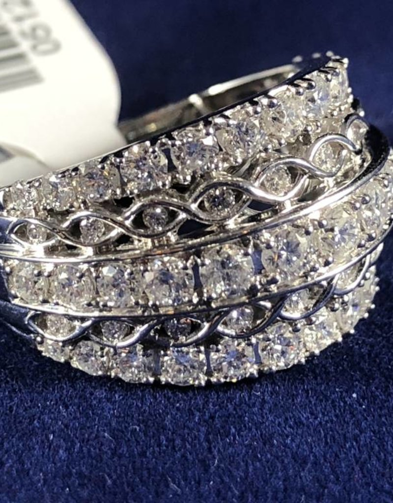 Round Cut 2.00ctw Diamonds, Multiple Rows Fancy Style, Lady's Fashion Ring