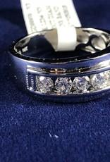 Diamonds 1.00 ctw Round Cut Men's Band;14 KT White Gold