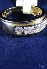 Diamonds 1.00 ctw Round Cut Men's Band;14 KT Yellow Gold