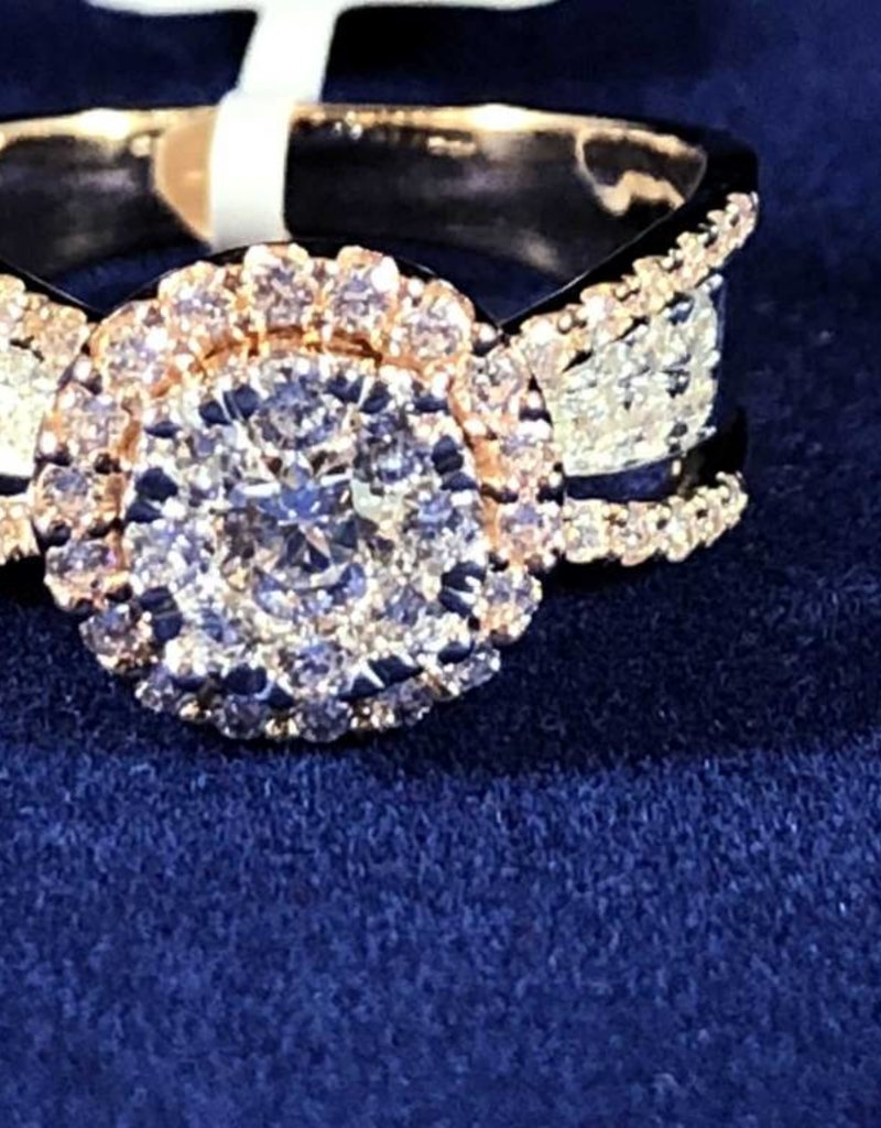 1.00ctw Round Cut Diamonds, Halo Style Lady's 14KT 2-Tone Rose and White Gold Ring
