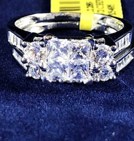 1.50ctw Princess Cut with Round & Baguette Cut Diamonds, Lady's Wedding Sets