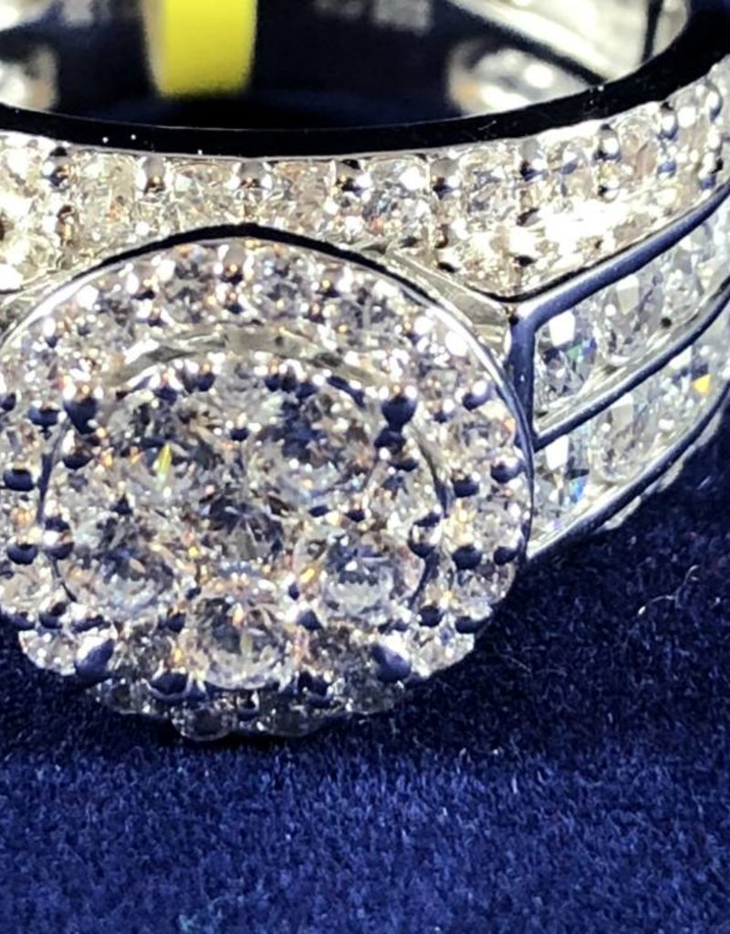 2.30ctw Round Cut Diamonds, Wide Band, Halo Style, Lady's Engagement Ring; 14KT White Gold