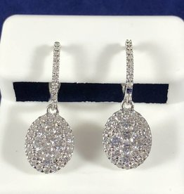 1.10 CTW Oval Shape with Round Cut Diamonds, 14KT White Gold Dangling Earrings