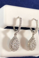 0.75 CTW Pear Shape with Round Cut Diamonds, 14KT White Gold Dangling Earrings