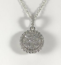 0.75 CTW Round Cut, 14KT White Gold Diamonds Pendant