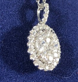 0.62 CTW Oval Shape with Round Cut Diamond, 14KT White Gold Pendant
