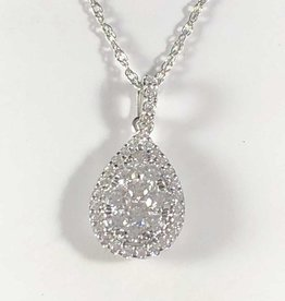0.62 CTW Pear Shape with Round Cut Diamond, 14KT White Gold Pendant