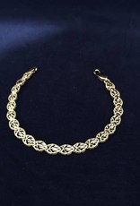 Pear Shape Moda Gold Bracelet; 14KT Yellow Gold Medium Thickness, 7""