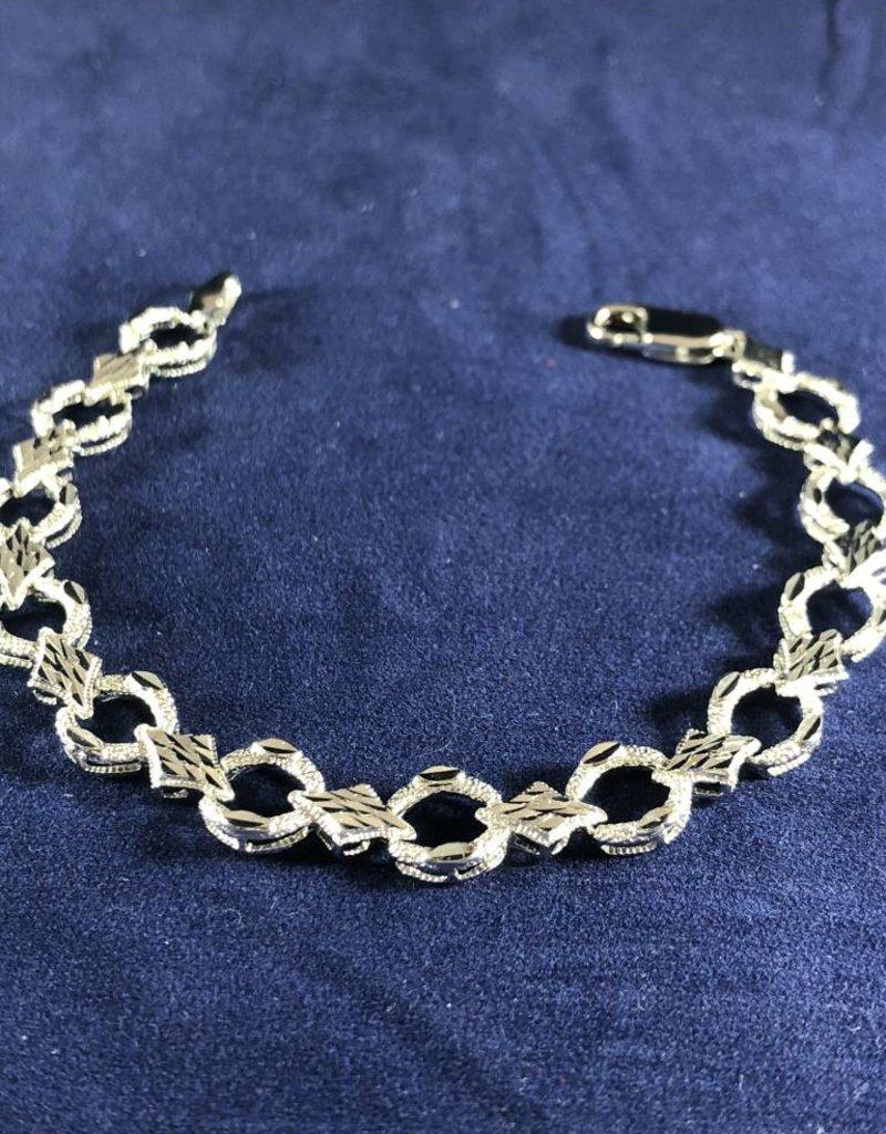"Circle and Marquise Shape Moda Gold Bracelet; 14KT White Gold Medium Thickness, 7"""