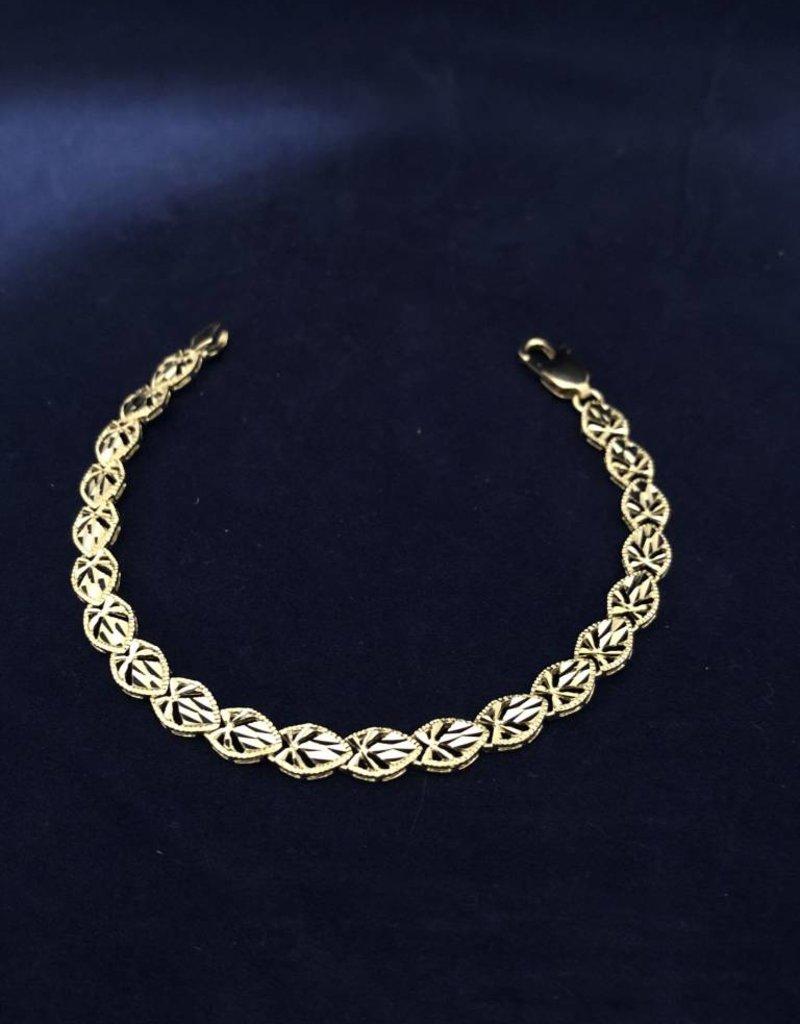 "Pear Shape Moda Gold Bracelet; 14KT White Gold Medium Thickness, 7.5"""